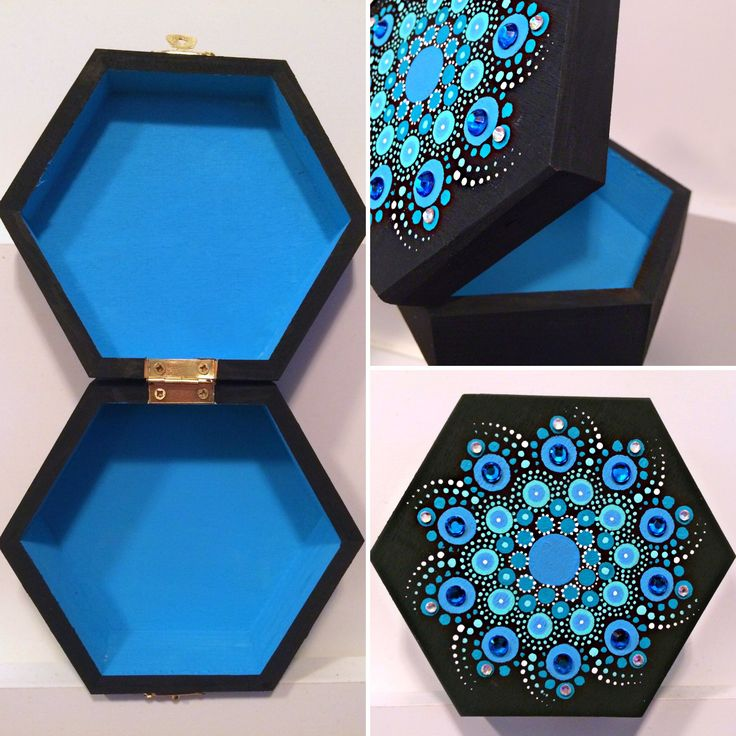 Splash of blue mandala ArtBox  Custom order  5x5 wooden box