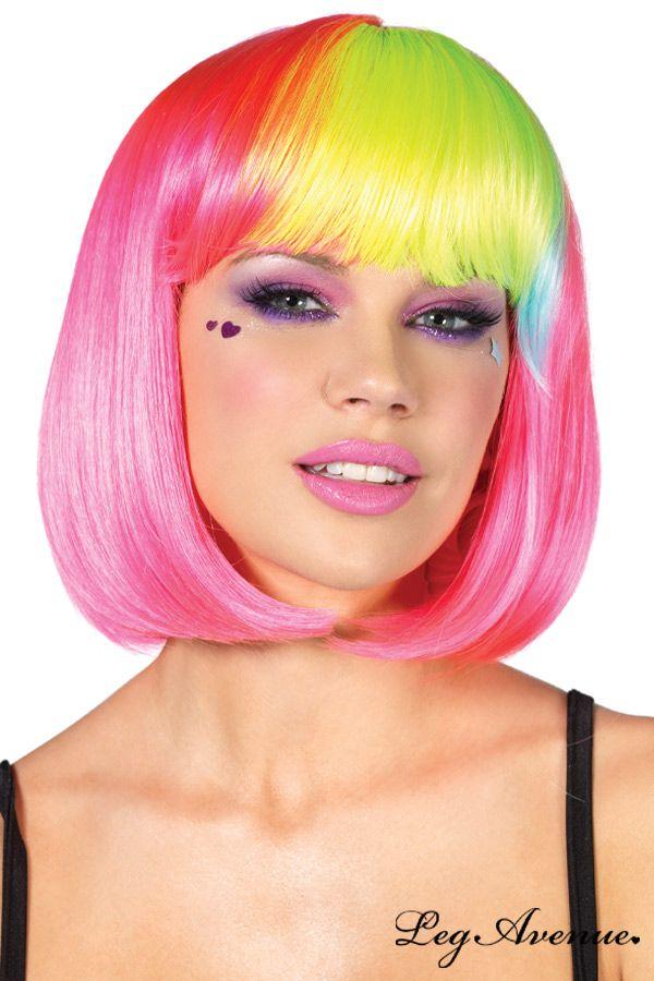 perruque carr court rose fluo magnifique perruque la coupe carr pour changer - Perruque Colore