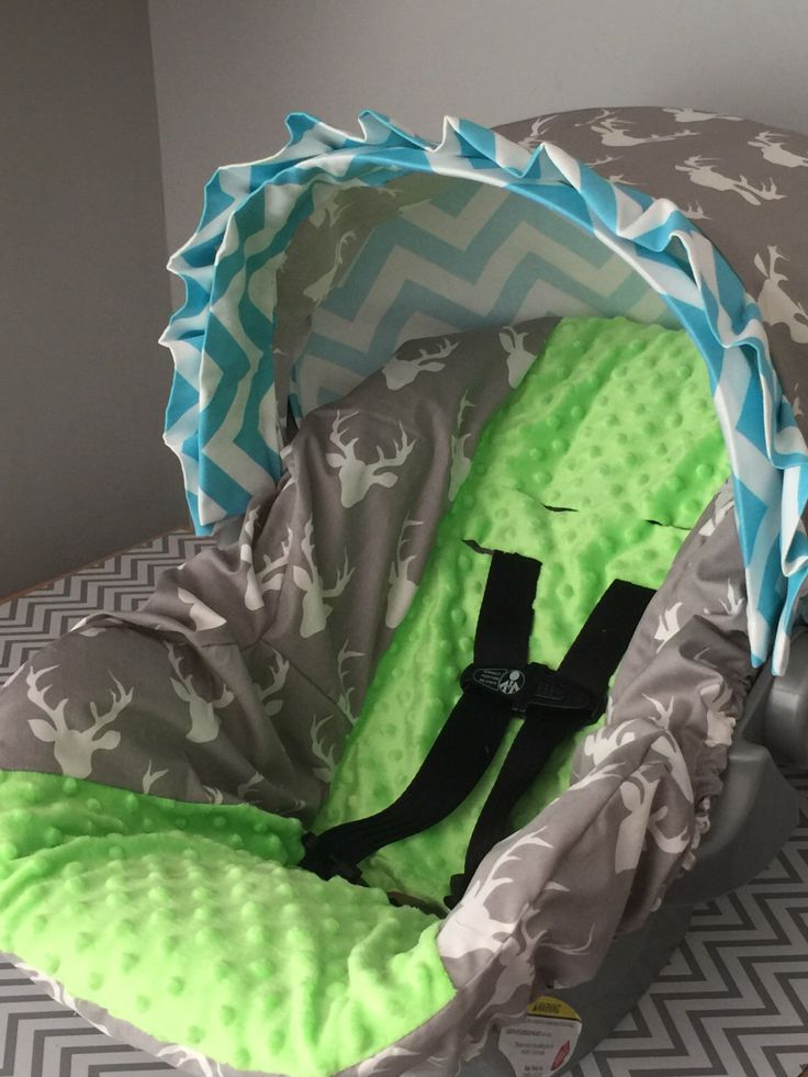 Items Similar To HELLO Bear Buck Mist Gray Fabric Aqua Blue Chevron With Lime MINKY Infant Car Seat Cover On Etsy