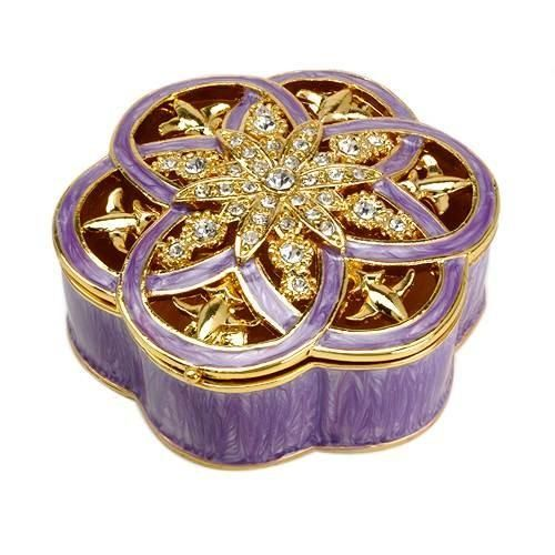 Wonderful Jewelry Box made of yellow base metal and two tone enamel. Length 2.0 inch. Gemstone info: crystal with round shape and white color.