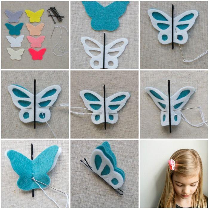 Como hacer clips para el cabello con mariposas de fieltro. Diseñado como un accesorio adorable para el pelo, estas mariposa de fieltro son también excelente para diferentes tipos de decoración.
