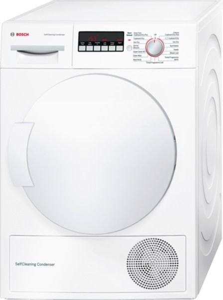 Bosch WTW83260GB Heat Pump Dryer, 8kg Capacity, A++ Energy. Features include, a super quick cycle for items that you need in a hurry. The anti-vibration panel keeps the noise level down. The automatic sensor will turn the machine off once the desired drying level has been achieved. Therefore saving you on energy usage. With an 8Kg drum, you can do less loads.