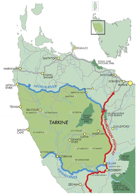 The Tarkine Wilderness is on the rugged North West coast of #Tasmania #Australia - It is further threatened by up to TEN proposed mines. Protest on Pinterest: pinterest.com/tarkine #SaveTarkine Map Via: Tarkine Tourism Development Strategy http://www.discoverthetarkine.com.au/media/pdfs/tarkine_TourismDevelopment.pdf