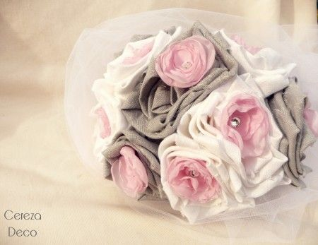 bridal bouquet pink grey white in s by cereza. Black Bedroom Furniture Sets. Home Design Ideas