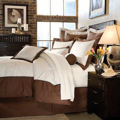 10 Piece King DREAMFIT Elements/Chocolate Brown Bedding/Comforter Bed Set