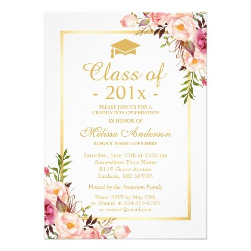 Class of 2016 Graduation Elegant Chic Floral Gold Card