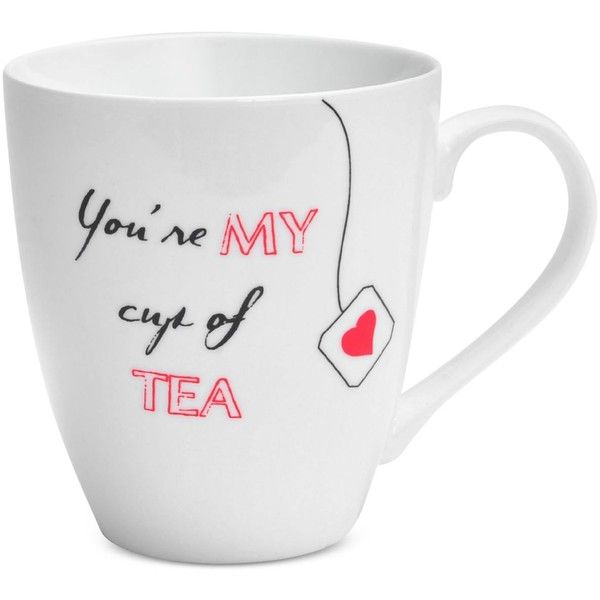Pfaltzgraff You're My Cup Of Tea Mug ($7) ❤ liked on Polyvore featuring home, kitchen & dining, drinkware, white, tea cups, white mugs, tea mug, pfaltzgraff and white tea cups