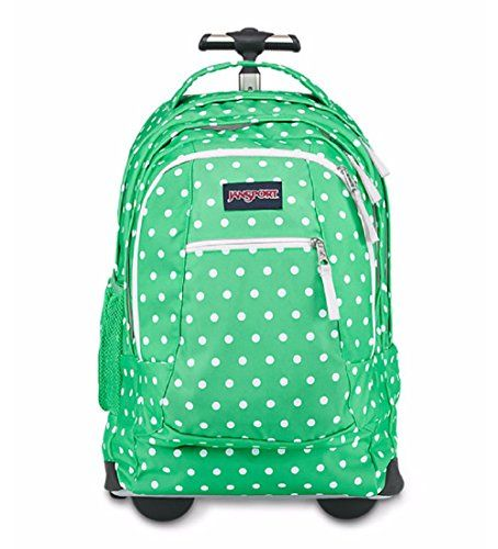 JanSport Unisex Driver 8 Wheeled Seafoam Green White Dots Backpack