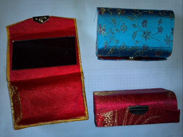 Petite boîte à bijoux boîte rouge à lèvres mircofabric boîte d'emballage avec petit miroir antique de stockage boîte à bijoux boîte