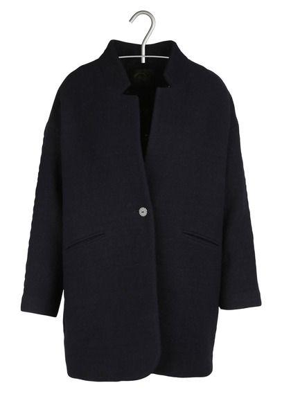 Manteau mi-long en laine Marmotte Bleu by DES PETITS HAUTS