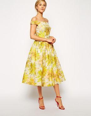 Image 4 ofASOS Sunflower Bardot Midi Prom Dress