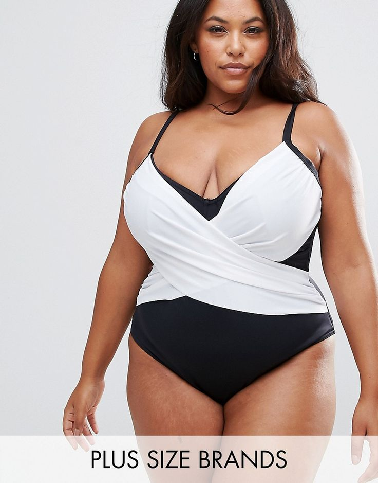 ASOS CURVE Supportive Mono Wrap Front Panel Swimsuit - Purple