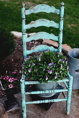 Not crazy about the flower pot, but I like the chair for the distressed look and shape.