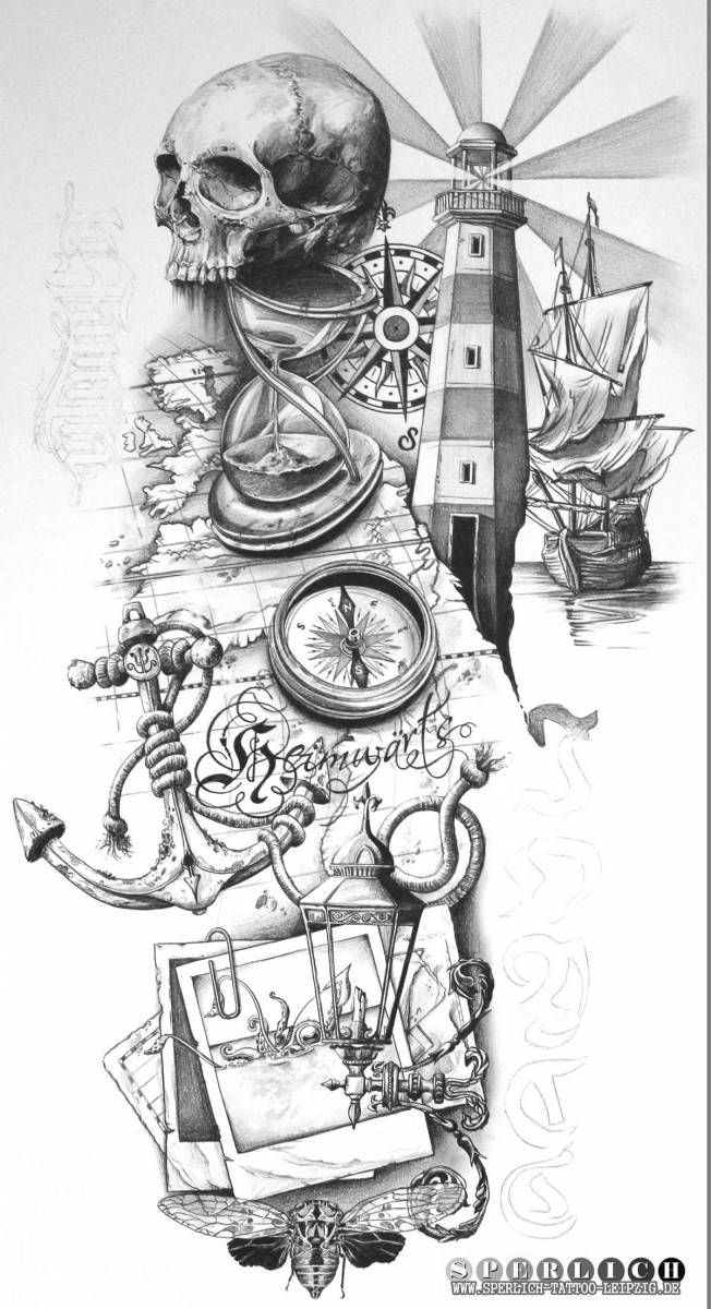 Maritimer_Tattoo_Entwurf_mit_Leuchtturm_Kompass_Seekarte_Totenkopf_Anker_und_Seil_big.jpg (652×1200)