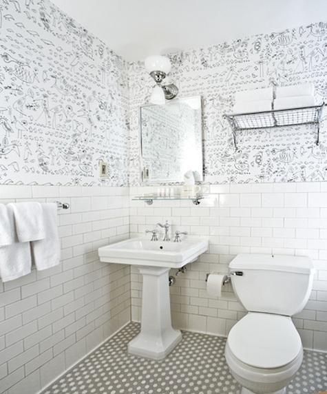 artist Saul Steinberg's Aviary wallpaper.     Via Remodelista (remodelista.com/...): Bathroom Design, Grand Hotels, Downstairs Bath, Beautiful Bathroom, Saul Steinberg, Bathroom Ideas, White Subway Tile, Wall Tile, Subway Tiles