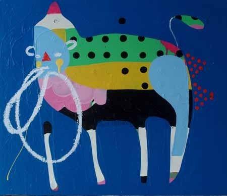 Kate McCarthy   Zebra Finch - 2013  Acrylic, oil, pencil on canvas  60 x 50 cm