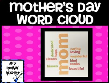This product is a simple way to make a Mother's Day gift.  The product is simply a planning page, sample words describing mom's, and directions on using the website abcya.com to make a Word Cloud.After making the Word Cloud, you can put it into a picture frame or use paper to make a frame and laminate.