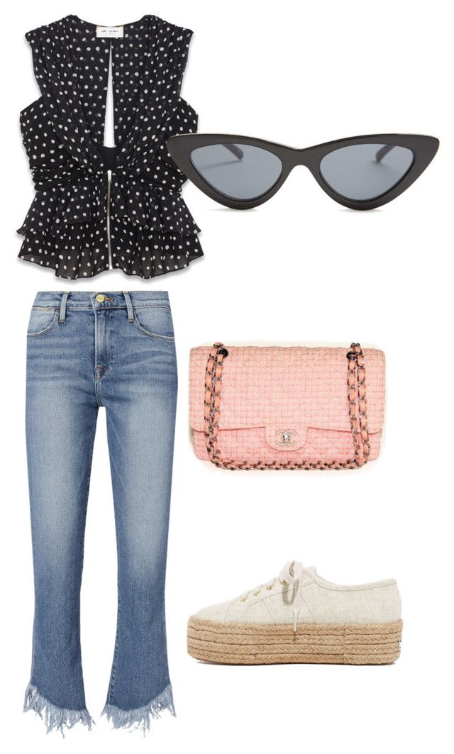 """Sin título #277"" by daisiesforgratitude ❤ liked on Polyvore featuring Yves Saint Laurent, Le Specs, Frame, Chanel and Superga"