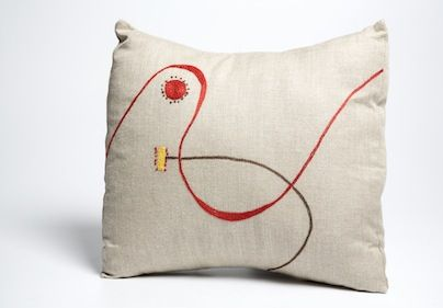 MOUNTAIN FEVER-HOTT ZULU TEXTILES: Inspired by the work of the well-known ceramic artist Andile Dyalvane of Imiso Ceramics, this embroidery group from rural KwaZulu-Natal is funded by the province's Department of Economic Development & Tourism. Their hand-embroidered range of cushions, placemats and napkins marks a radical shift from traditional African embroidery to a more minimalistic approach.