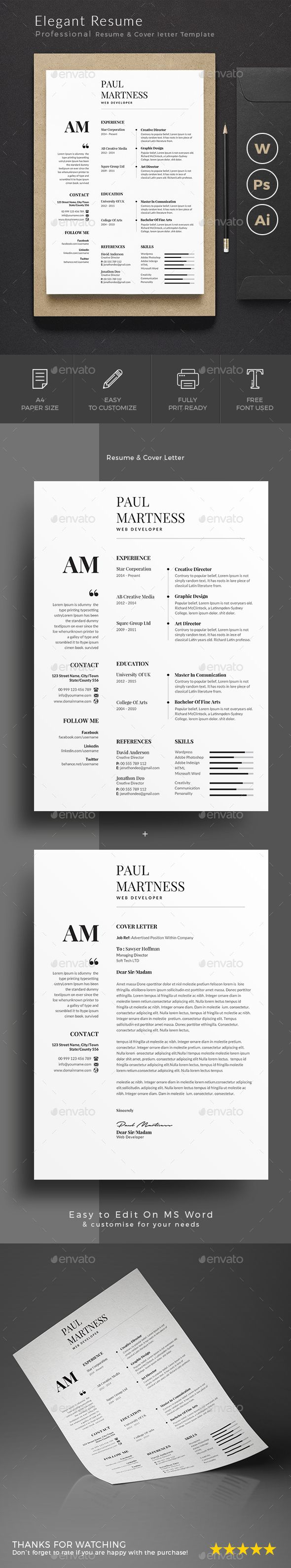 Resume — Photoshop PSD #resume #cover letter • Download ➝ https://graphicriver.net/item/resume/20115087?ref=pxcr