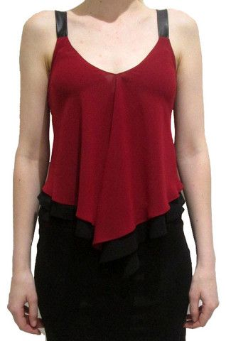 Faux Leather Draped Top See the full collection at www.colorsonair.com