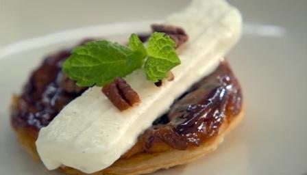 BBC - Food - Recipes : Mini spiced apple tarte tatin with vanilla frozen yoghurt