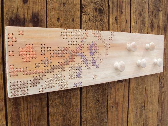 Cross Stitch Wood Wall Rack 5 Knobs by stedi on Etsy