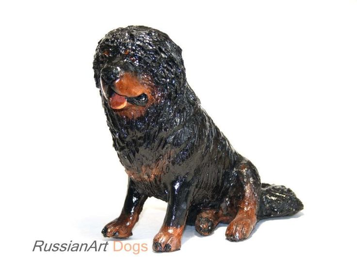 Tibetan mastiff statue, figurine handmade of ceramic, statuette by RussianArtDogs on Etsy