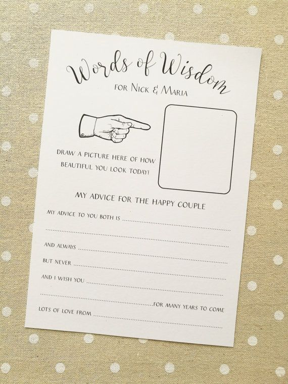 10 x Personalised Funny Wedding Advice Cards  by AimeeClareDesigns