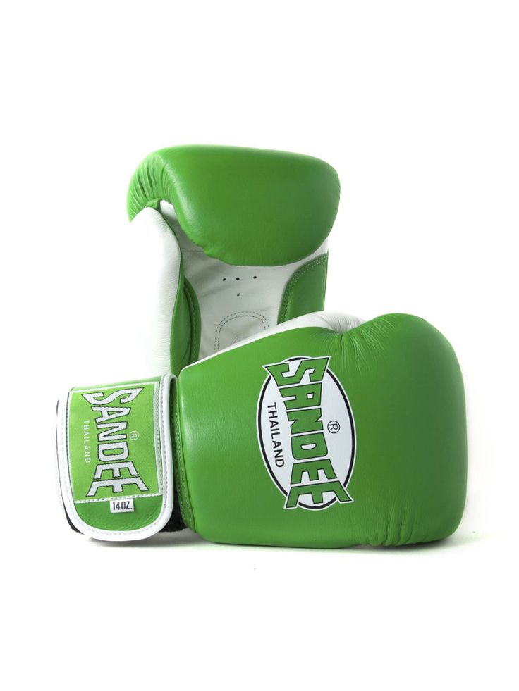 Sandee Fluro Authentic Velcro Leather Boxing Gloves - Green & White