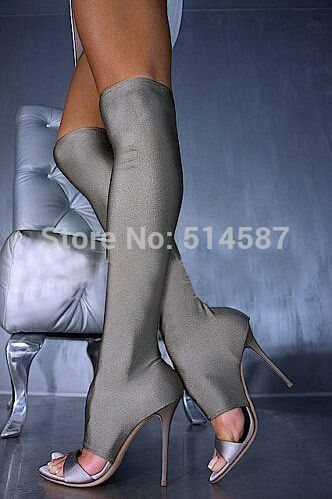 Find More Boots Information about New 2014 Stretch Lycra Fabric Over The Knee Boots Peep Toe Cut outs Summer Sandal Boot Tight High Boot Shoes,High Quality shoes trendy,China boots kids shoes Suppliers, Cheap shoes women boot from Wuhan Catherine Apparel Trade Co., Ltd. on Aliexpress.com