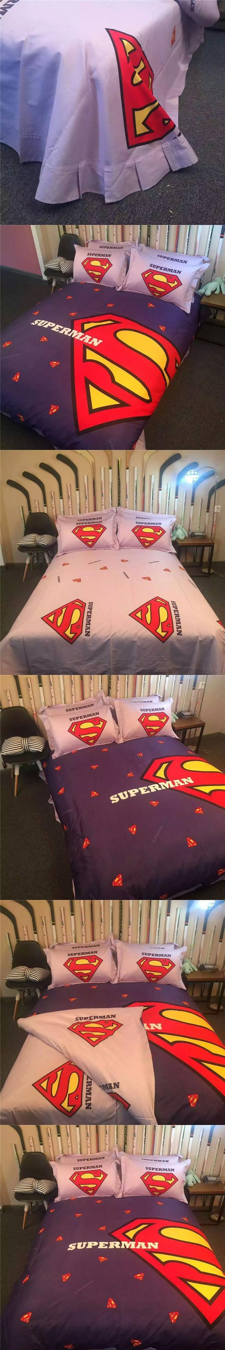 100% Cotton 3D Superman Duvet Cover Set Full Queen bed Sheet 4pcs bedding  sets Bed