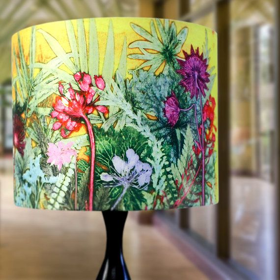 Cool Handmade Floral Lamp Shade Tropical Sunshine Fabric Industrial Lamp