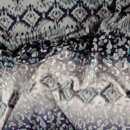 Viskose jersey stretch blå inka print