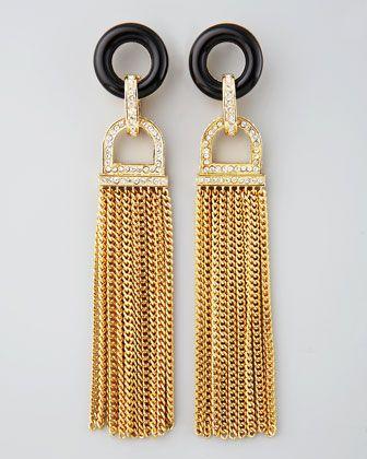 Rachel Zoe Rhinestone Tassel Earrings, Black Quartz