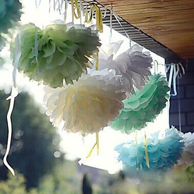 10 PCS 4 Inch(10cm) Tissue Paper Crafts Pom Poms Flower Party Decoration (Assorted Color) – USD $ 3.99