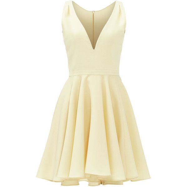 Rental allison parris Yellow Marilyn Dress ($60) ❤ liked on Polyvore featuring dresses, short dresses, yellow, beige dress, short sleeveless dress, yellow sleeveless dress, full skirt and sleeveless dress