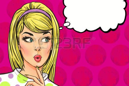 pop art woman: Поп-арт иллюстрация девушки с речью bubble.Pop Искусство girl.Party invitation.Birthday приветствие card.Hollywood кино star.Vintage реклама poster.Fashion женщина с речи bubble.Thinking женщины Фото со стока