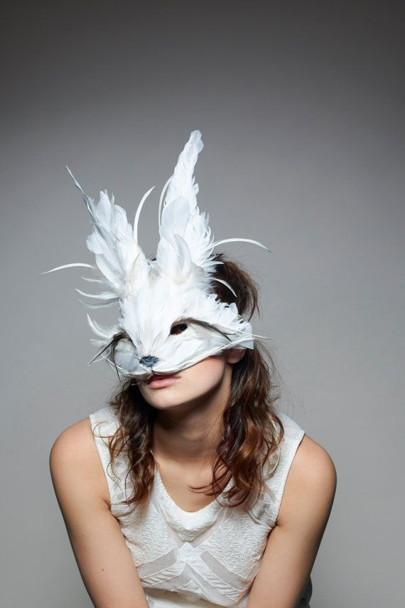 Luxury White Rabbit Mask, White Rabbit Headdress, Festival Mask, Feather Animal Mask, Alice Mask, Christmas Masquerade, Zootopia, Cosplay