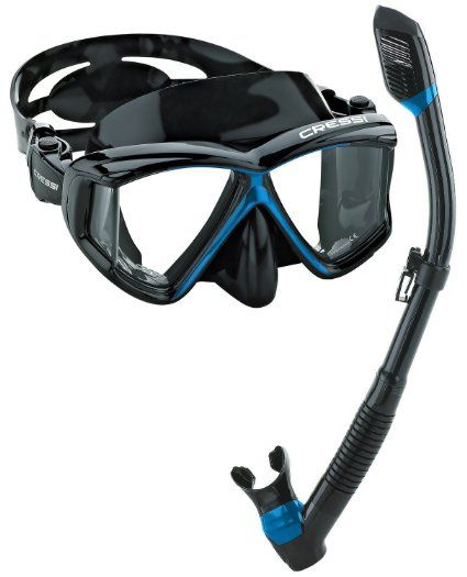 Amazon.com : Cressi Panoramic Wide View Mask Dry Snorkel Set, All Black : Sports & Outdoors