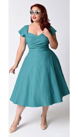 Plus Size Exclusive Stop Staring! Mad Style Seafoam Cap Sleeve Swing Dress