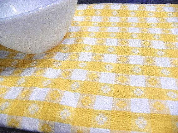 Yellow Checkered Tablecloth Vintage