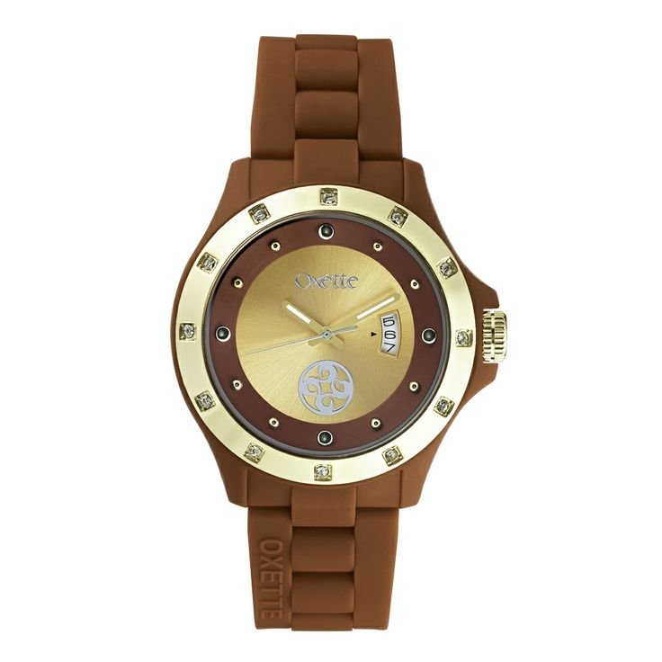 Oxette  Brown  Pop Watch - Available here http://www.oxette.gr/rologia/s.steel-gold-plated-pop-brown-watch-652l-1/     #oxette #OXETTEtimewear #OXETTEwatch #watches
