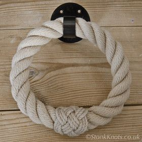 Rope towel ring in posh with turks head whipping and wrought iron round base fitting