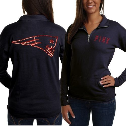 ... Bling Jersey VictoriasSecret httpwww Victorias Secret PINK New England  Patriots Ladies Half-Zip Sweatshirt - Navy Blue ... c7e975589