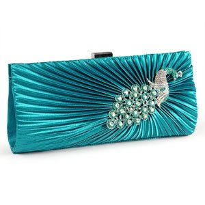 Teal Satin Peacock Crystal Pleated Evening Clutch Bag Bridesmaid Bridal Prom: Amazon.co.uk: Clothing