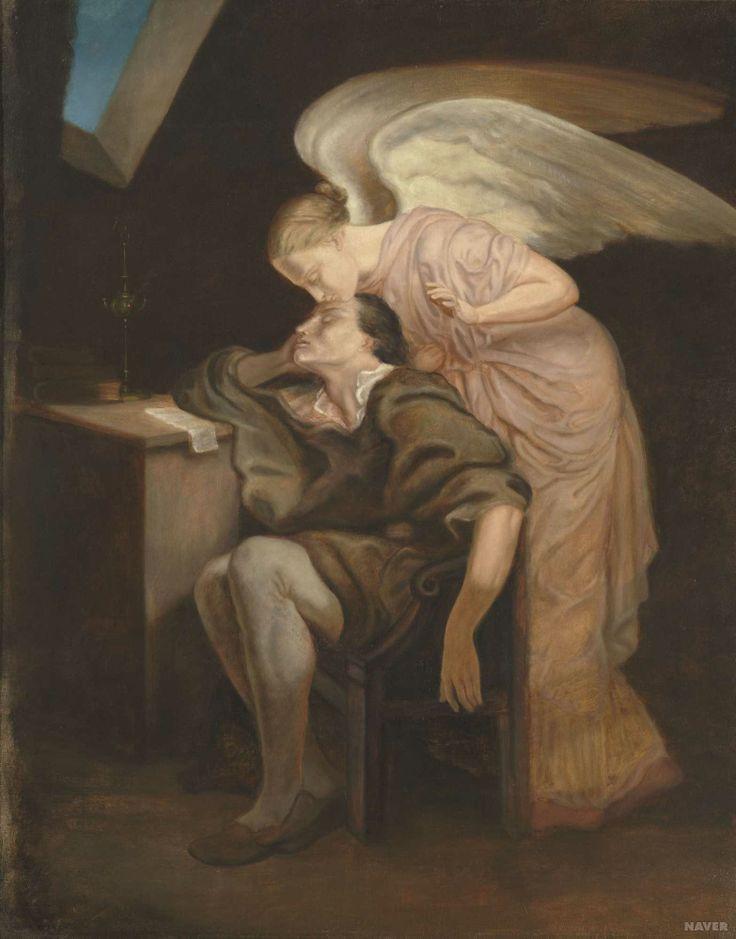 //// 폴 세잔 <시인의 꿈> - 1858,1860년경, 후기인상주의 //// <야곱의 꿈>에서와 마찬가지로 천사가 등장하는 이 작품은 '사과' 로 유명한 폴 세잔의 작품이다. <야곱의 꿈>에서는 천사가 직접 그의 꿈에 등장해 그에게 축복을 내리는 반면, 이 작품에서는 천사가 시인에게 있어서 일종의 '뮤즈'의 역할을 하고있다. 잠든 시인 (아마도 시를 고민하다가 잠든) 에게 키스를 함으로써 그에게 영감을 불어 넣어주고 있는 듯 하다. 다시 말해 꿈은 영감인 것이다. 꿈이라는 무한한 상상력과 창조력의 에너지를 천사를 통해 불어넣어지고 있는듯한 표현이 제법 신선하다. 아침에 일어나면 시인은 간밤에 꾼 꿈을 떠올리며 시를 써 내려갈 것이다.