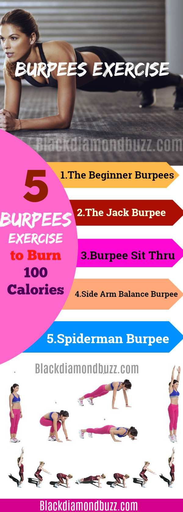 How To Do Burpees Exercises: 5 Burpees Exercises to Burn 100 Calories- Now, there are many variations of this amazing workout. It has been embraced by athletes, military forces, football teams and fitness experts. This article is aimed at showing you how to do burpees exercises. #burpee  #exercise #hiit