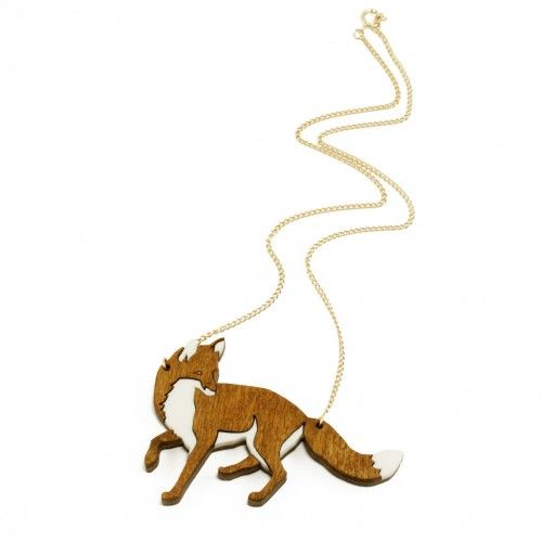 An original handcrafted necklace featuring wooden-perspex fox. Wear yours solo against simple tops.