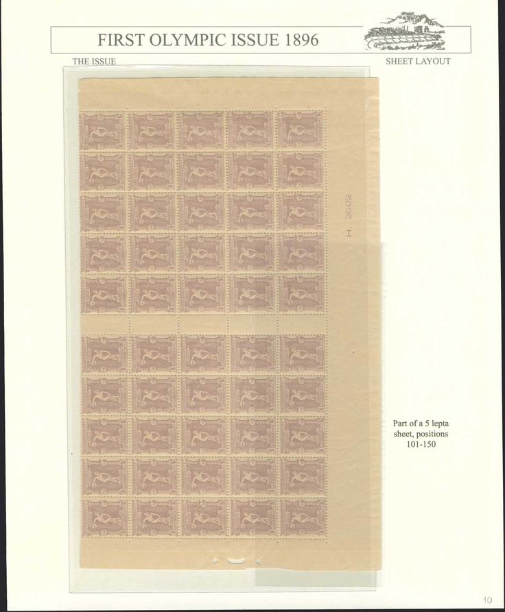 5l. 1896 Olympic Games, the lower part of the sheet (pos.101-125 and 126-150), including 5 gutter pairs, u/m.